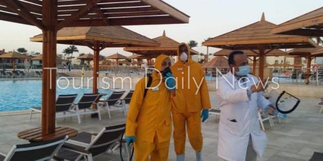 بدء حملة التطهير والتعقيم للفنادق والمنتجعات والمنشآت السياحية بشرم الشيخ
