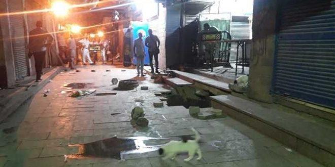 هبوط أرضي مفاجئ فى شارع السوق السياحي بمدينة أسوان