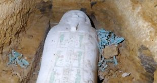 العثور على تابوت حجري وتماثيل من الاوشابتي بمنطقة آثار الغريفة فى المنيا2