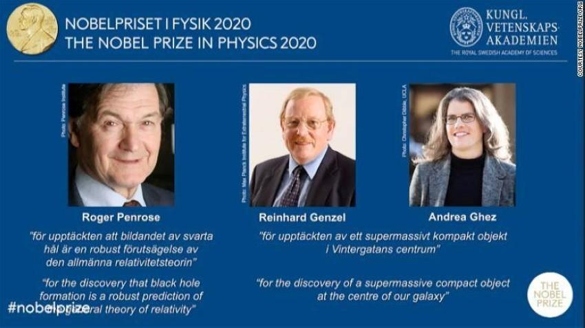 نوبل تمنح جائزة الفيزياء 2020 لـ 3 علماء لاكتشافاتهم حول الثقوب السوداء
