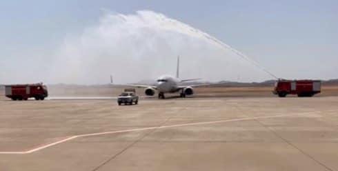 وصول أولي رحلات الخطوط الأوكرانية الي مطار مرسي علم وعلى متنها 128 راكباً