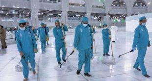 السعودية تمنع اقتراب كورونا من المسجد الحرام بـ 60 ألف لتر مطهرات يومياً