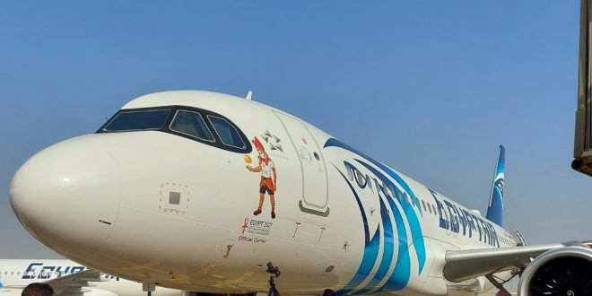 مصر للطيران تضع شعار بطولة كأس العالم لكرة اليد 2021 على طائراتها1