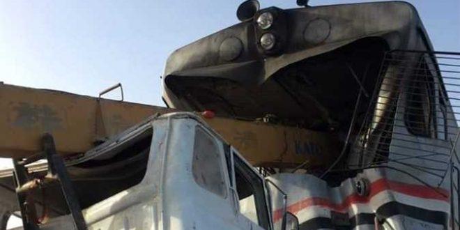 تفاصيل حادث اصطدام قطار بونش فى القوصية وأسماء الضحايا والمصابين