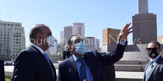 رئيسا الوزراء المصري والأردني يتفقدان أعمال تطوير ميدان التحرير..صور