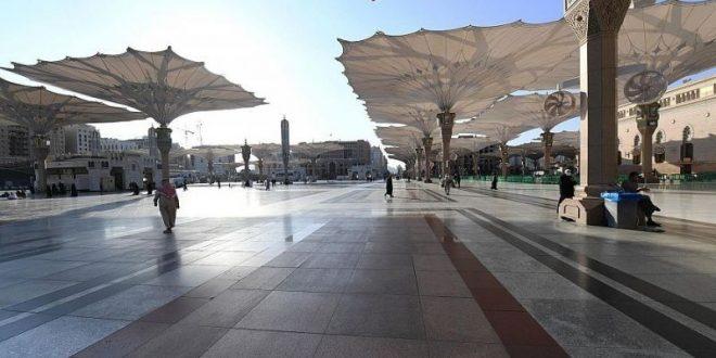 250 مظلة متحركة بالمسجد النبوي الشريف توفر الأجواء المناسبة للمصلين