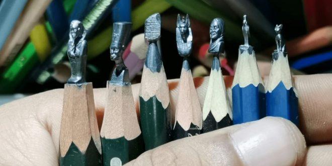 الفنان المصري إبراهيم بلال يروج للسياحة المصرية بأقلام رصاص