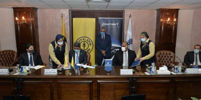 مصر للطيران توقع بروتوكول تعاون مع Gold's Gym لتشجيع الرياضة فى مصر