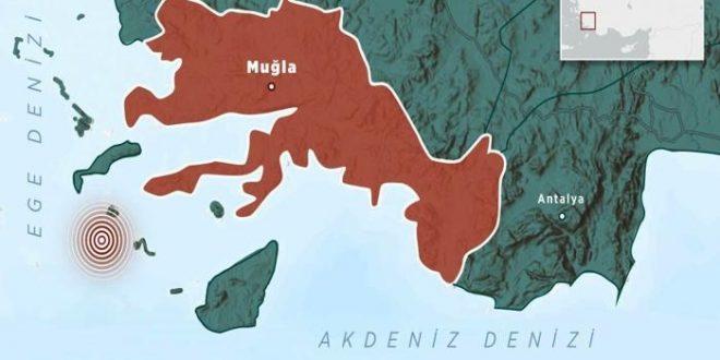 """زلزال يضرب تركيا مركزه بحر إيجه قبال قضاء """"داتشا"""""""