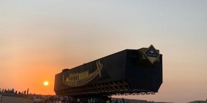 وصول مركب الملك خوفو الأولى إلى المتحف الكبير بعد 48 ساعة أعمال شاقة