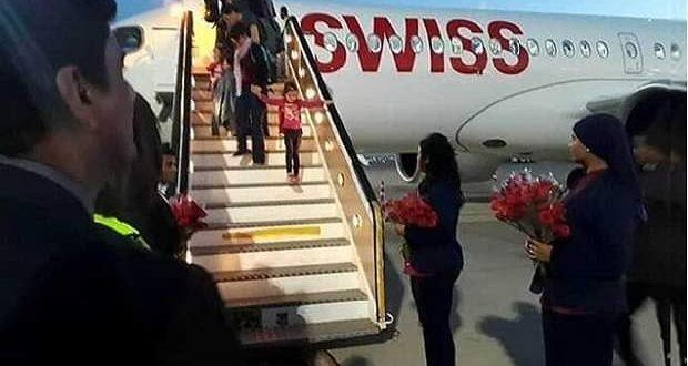 تقليد جديد في استقبال أول رحلة طيران سويسرية بشرم الشيخ بعد توقف 5 سنوات